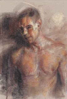 Male portrait nude upper body pastel drawing