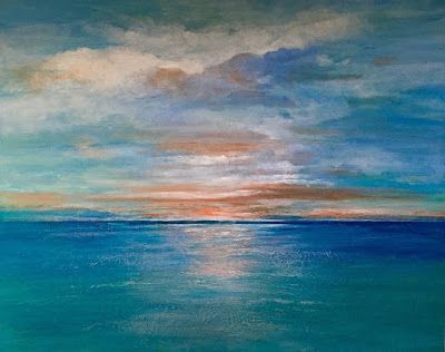 "Contemporary Ocean Abstract ,Seascape,Sunset ""Sunset Over Catalina"" by California Artist, Cecelia Catherine Rappaport"