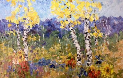 "Palette Knife Aspen Tree Colorado Landscape Painting ""The Perfect Fourth"" by Judith Babcock Colorado Artist"