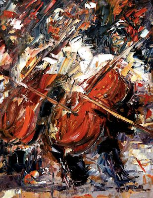 "Music Art, Musical Instruments, Jazz Art, Palette Knife Oil Painting ""2 Cellos"" by Texas Artist Debra Hurd"