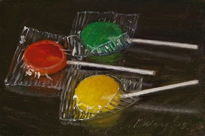Lollipop candy still life food painting original daily painting a day small