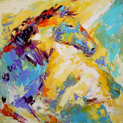 JOY RUN. Contemporary Horse Painting by Texas Artist Laurie Pace