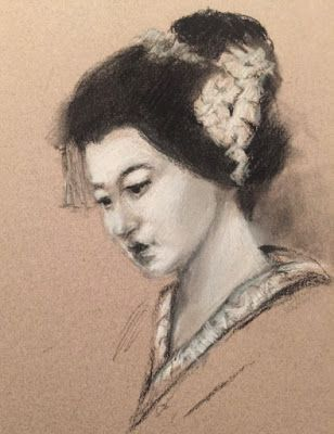 Sketch of Mei as a Maiko - original charcoal and white drawing