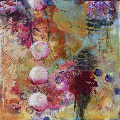 "Contemporary Art, Abstract Mixed Media Painting ""CELEBRATE LIFE"" by Santa Fe Contemporary Artist Sandra Duran Wilson"