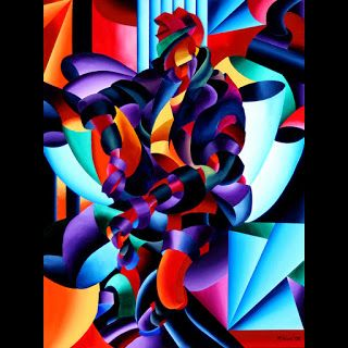 Mark Webster - Anamorphosis from the Outside In - Abstract Futurist Geometric Figurative Oil Painting
