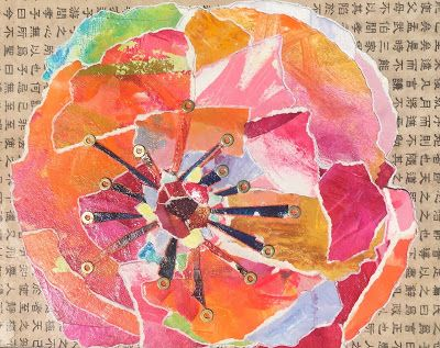 "Floral Art, Flower Painting,Textural Collage, Mixed Media ""PAPER BLOOM"
