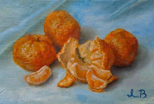 "Original oil painting ""Sweet tangerines"". Size 6,7 x 9,8 inch (17 x 25 cm). Canvas on hardboard"