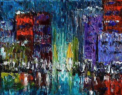 "Street Scene Painting Cityscape Art Abstract Paintings ""Urban Evening"" by Texas Artist Debra Hurd"