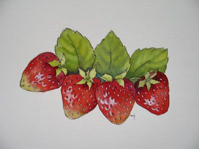 Strawberries in Watercolor - SOLD
