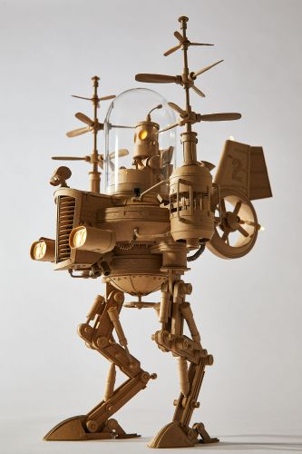 Sci-Fi Inspired Cardboard Sculptures by Greg Olijnyk Feature Fully Articulated Limbs and Working Motors