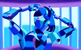 Mark Webster - Carolyne - Abstract Geometric Figurative Oil Painting