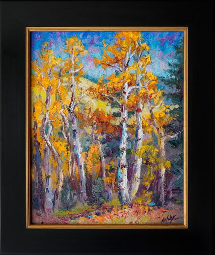 """Autumn's Descent"" Aspen Painting by Contemporary Impressionist Niki Gulley"