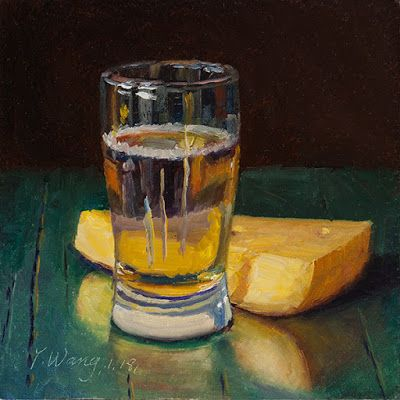 Cheese and a cup of beer, still life painting food daily painting a day