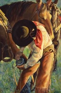 "Western Art, Fine Art, Cowboy Painting, Horse, ""Trust"" by Colorado Artist Nancee Jean Busse, Painter of the American West"