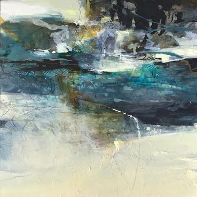 "Contemporary Art, Abstract Landscape Painting ""RESPITE"" by Intuitive Artist Joan Fullerton"