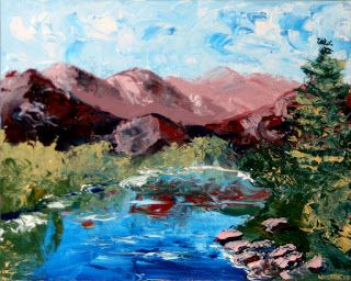 Mark Webster - Impressionist Mountain River Palette Knife Oil Painting 72210