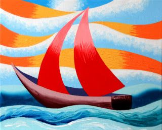 Mark Webster - Red Sailboat - Abstract Geometric Seascape Oil Painting