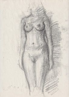 Standing female nude & quick croquis