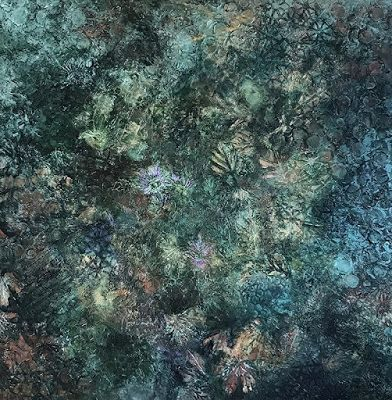 "Contemporary Art, Abstract Painting, Expressionism, Mixed Media, ""WOODLAND FLOOR"" by Contemporary Artist Liz Thoresen"