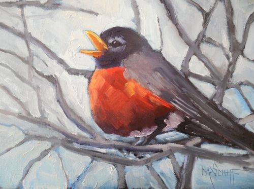 Robin Giclee Print, Small Oil Painting, Daily Painting, Giclee on Canvas, Bird Painting, Carol Schiff Art