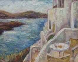 New Santorini Oil Painting by Contemporary Impressionist Niki Gulley