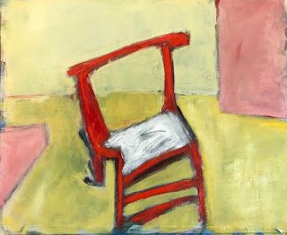 "Interior View, Still Life, Contemporary Fine Art Painting ""My Red Chair"" by Oklahoma Artist Nancy Junkin"