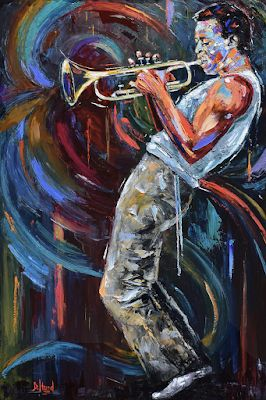"Abstract Impressionist Musician, Trumpet, Miles Davis, Music Fine Art Print ""Birth of Cool"" by Debra Hurd"