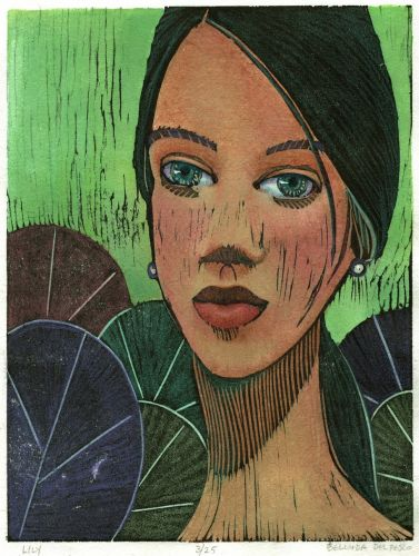 Woodcut Portrait - Manga Style - Hand Painted with Watercolors