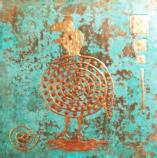 "Contemporary Art, Mixed Media, Abstract Art Painting, ""Quail 1"" by Arizona Artist Pat Stacy"