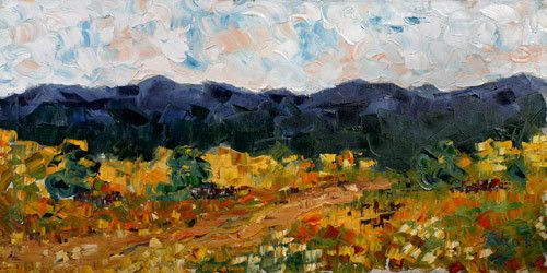 "Impressionist Landscape, Colorado Landscape Painting ""Blue Mountains"" by Colorado Impressionist Judith Babcock"
