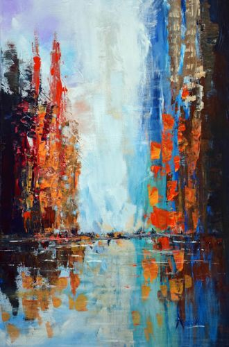 "Original Contemporary Seascape Painting ""City of Light"" by International Contemporary Seascape Artist Arrachme"