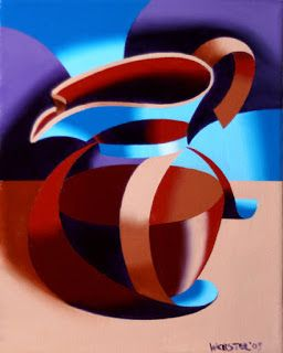 Mark Webster - Futurist Abstract Coffee Pot Oil Painting