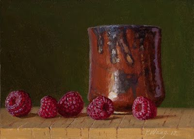 Raspberries with ceramic cup, still life daily painting a day small original in oil