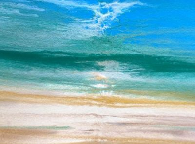 Contemporary Seascape,Abstract Beach Art, 'Beach Dreams-Azurean and Green II' by Colorado Contemporary Landscape Artist Kimberly Conrad