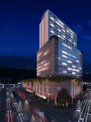 25 Stories Trellised Mixed Use Development to Improve Pedestrian Access in Downtown Monterrey