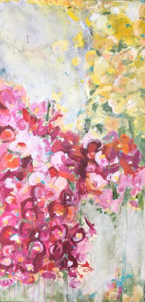 "Contemporary Floral Abstract Painting, ""Encore"" by Contemporary Expressionist Pamela Fowler Lordi"