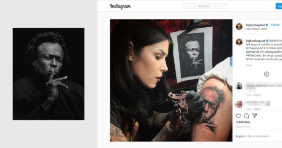 Photographer Sues Kat Von D Over Miles Davis Tattoo