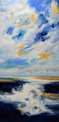 """Abstract Seascape, Landscape Painting, Contemporary Art """"Unrestricted Freedom"""" by International Abstract Artist Arrachme"""
