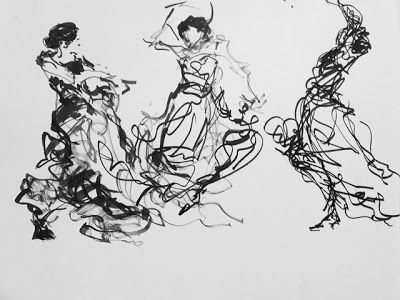 Dancers in Lines - original ink marker figurative drawing