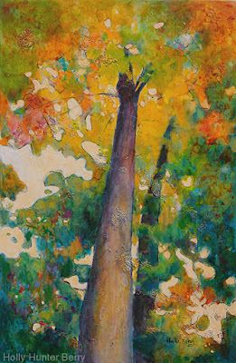 """Colorful Contemporary Impressionist Landscape, Tree Painting, Mixed Media, """"One Answer"""" By Passionate Purposeful Painter Holly Hunter Berry"""