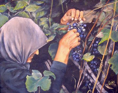 Portuguese Grapepicker, 16x20 Oil Painting, Terceira, Azores