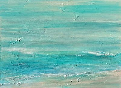 "Abstract Seascape Painting ""Imminently"" by California Artist Cecelia Catherine Rappaport"