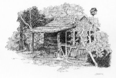 Georgia Cabin, 8x6 Pen and Ink Drawing