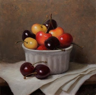 """""""Red and Golden Cherries"""" Oil on 6x6 board"""