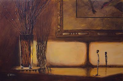 "Still Life Fine Art Painting, Interior View ""WILLOW TWIGS AT SUNSET"" by Painter of the American West Nancee Jean Busse"