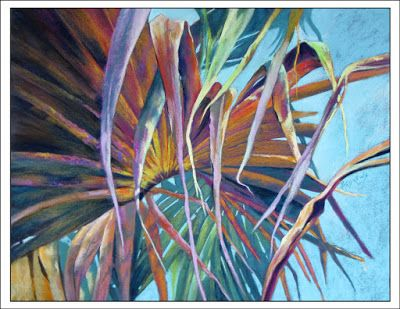 Fan Palm Canopy.. Pastel..Texas Artist..Rae Andrews