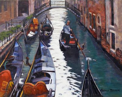 Venice Parking, Oil on Canvas