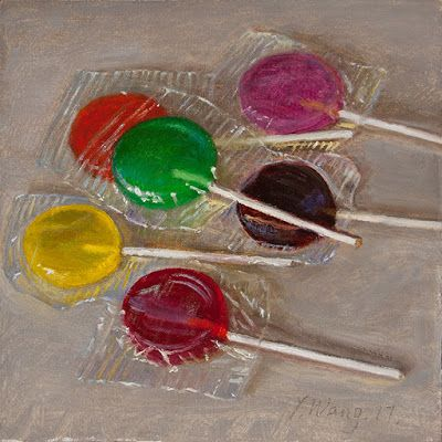 Lollipop candy still life daily painting a day food painting