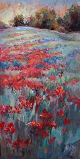 "New ""Ruby Path"" Texas Wildflower Painting by Niki Gulley"