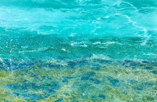 "Contemporary Beach Art, Abstract Seascape Painting, Coastal Art ""Caribbean Summer Splash III"" by International Contemporary Landscape Artist Kimberly Conrad"
